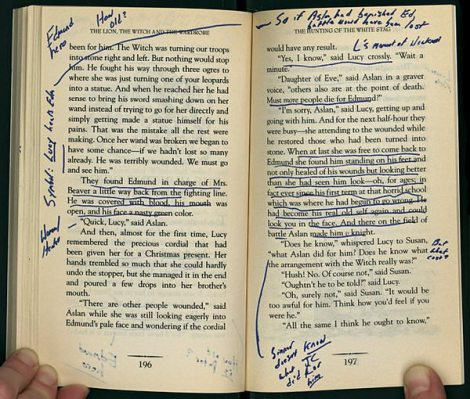 Annotated pages from D.F. Wallace's copy of C. S. Lewis's The Lion, the Witch, and the Wardrobe