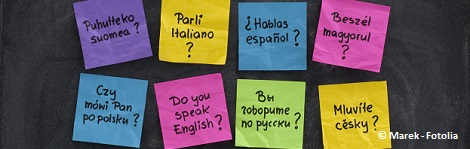 Do you speak question in dozen of languages - colorful sticky notes on blackboard with white chalk smudges